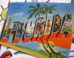 Vintage Florida souvenir postcard folder-1940