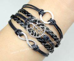 Silvery round wishing tree infinity bracelet,black wax rope woven rope jewelry
