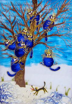 """Stained glass painting """"Blue cats. Salvation-2"""" (This is the prototype of original work of an artist, Rina Zeniuk) by likvitraj on Etsy"""
