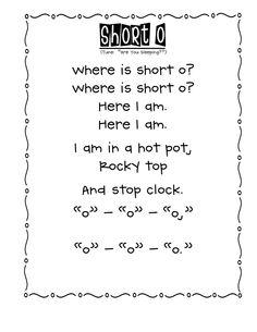 Poems For Kindergarten Short O Kindergarten Songs, Kindergarten Reading, Teaching Reading, Teaching Ideas, Reading Lessons, Student Teaching, Reading Skills, Guided Reading, Learning