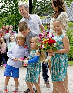 Crown Prince Frederik and Crown Princess Mary were joined by their children (left to right) Prince Vincent, Prince Christian, Princess Josephine and Princess Isabella