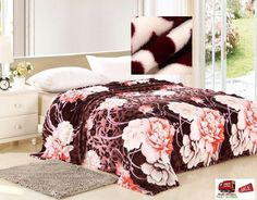 Bed Blankets Queen Brown Rose Floral Plush Soft Throw Fleece Flannel Bedroom USA #Jml #Modern