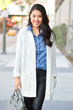 knit sweater and leather www.thefashionpledge.com