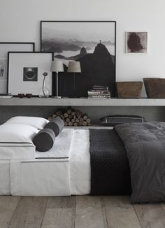 bedroom with photo shelves display