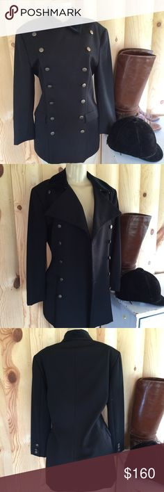 /Ralph Lauren country/ wool riding coat / jacket Vintage Ralph Lauren Country 100% wool black jacket / coat . Double breasted, Classic equestrian riding-style. Fully lined, flap pockets. Great condition - size 8. Ralph Lauren Jackets & Coats Blazers
