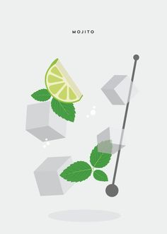 Mojito Cocktail Design Print. Poster. Minimal, fresh design. Want to give your room a buzz? Or just a nice gift? This is the poster for you!