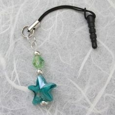 Blue, Green, Silver Starfish Cell Phone Charm by SierraLilyDesigns on Etsy