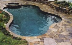 backyard pool with natural stone Backyard Swimming Pool Design Ideas