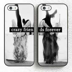 Set BFF Best Crazy Friends Forever Pair Soft Rubber Phone Cases For iPhone 6 6S Plus 7 7 Plus 5 5S 5C SE 4 4S Cover Bags Shell