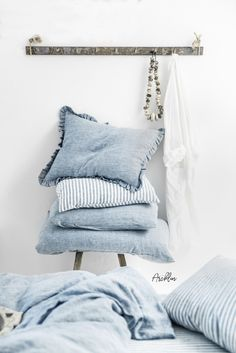 Ruffled linen pillow case in blue melange (light blue denim color). Easy to mix and match with other colors, textures, and decorative details as well. Bed Linen Sets, Linen Pillows, Linen Bedding, Bed Pillows, Bed Linens, Linen Fabric, Ikea, Zara Home, Linen Bedroom