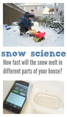 Simple science experiments for kids - snow science! Great winter activity for preschool and kindergarten. Simple science experiments for kids - snow science! Great winter activity for preschool an Easy Science Experiments, Science Fair, Science For Kids, Science Activities, Science Projects, Science And Nature, Winter Activities, Childcare Activities, Science News