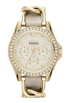 Fossil 'Riley' Crystal Bezel Multifunction Leather Strap Watch, 38mm
