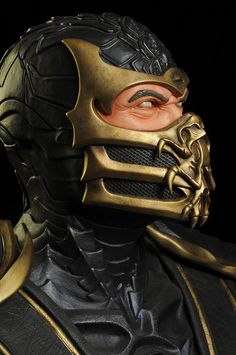 Mortal Kombat Scorpion life size bust by Pop Culture Shock Escorpion Mortal Kombat, Mi Images, Mortal Kombat X Wallpapers, Pop Culture Shock, Biomechanical Tattoo, Fantasy Mermaids, Marvel, Samurai, Punisher