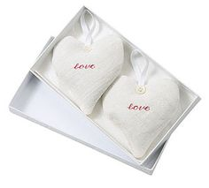 Pair of Vintage Linen LOVE Hearts - shop by occasion