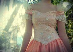 Peach Princess Dress - Fantasy, victorian, prom, costume - vintage gown size XS, S. $47.00, via Etsy.