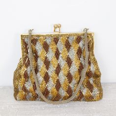 Silver Gold and Bronze Beaded Vintage Purse