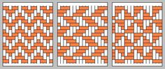 Really nice patterns can be achieved if you weave in and out in groups of 5. Note that the image on the right is the back side of the image on the left.     This pattern is the same as the one immediately above: namely, it has a diamond shape but with a dot in the middle.