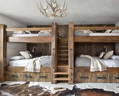 Modern-rustic home set amidst the grandeur of the Rocky Mountains - - This fabulous modern-rustic home is designed by Studio H Design, located in the private community of Yellowstone Club in Big Sky, Montana. Cabin Bunk Beds, Bunk Bed Rooms, Bunk Beds Built In, Rustic Bunk Beds, Log Cabin Bedrooms, Rustic Bedrooms, Modern Rustic Homes, Rustic Loft, Rustic Cabins