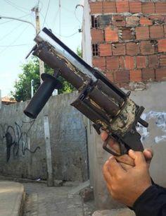 An improvised six-shot 12 gauge shotgun revolver which was seized on August 2018 in Mossoro, Rio Grande do Norte, Brazil.