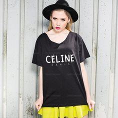Oversize Off Shoulder Shirt  Celine Paris by TshirtsTakeaway