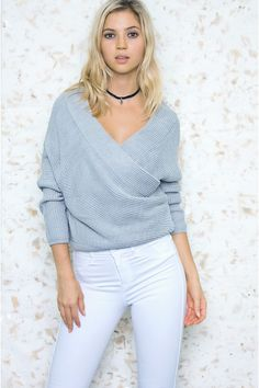 80f90aaec713 Heartbeat Grey Wrap Sweater. Haute Rogue