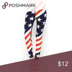 American Flag Leggings, Fourth of July One size fits all, American flag, patriotic leggings. Great for 4th of July, Memorial Day, Labor Day celebrations. Unknown Pants Leggings