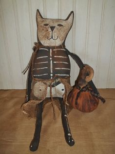 Primitive Grungy Scary Kitty Cat Skeleton Doll & Her Halloween Pumpkin
