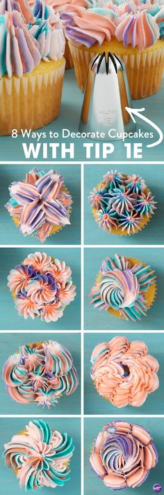 8 Ways to Decorate Cupcakes Using Tip Commonly used to create drop flowers, the large decorating tip can also be used to make amazing shells, stars and more. With this collection of 8 Ways to Decorate Cupcakes Using Tip you'll learn how to use th Icing Tips, Frosting Tips, Frosting Recipes, Cupcake Recipes, Cupcake Cakes, Cup Cakes, Fondant Recipes, Fondant Flower Cake, Fondant Rose