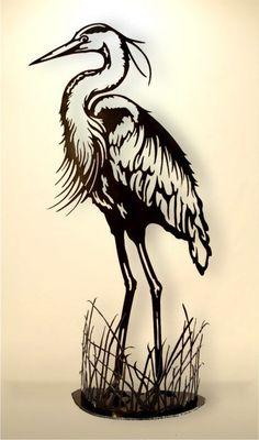 Sculptures Black Cat ArtWorks, Standing Blue Heron sculpture | Gifts Of Art