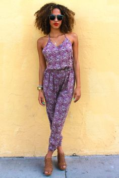 Larissa Open-Back Romper in Violet  $39.00  Halter top pantsuit with an open back and cinched waist.