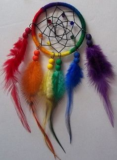 Rainbow Dream Catcher on Etsy, $14.00 --- anybody wanna get this for me!?!? Cx