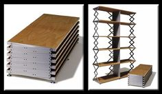 Scheren Regal presents an interesting shelving option. This piece would be highly portable for moves and could be used as a side table until more storage is needed, with an elegant but engineered look typical of good German design.