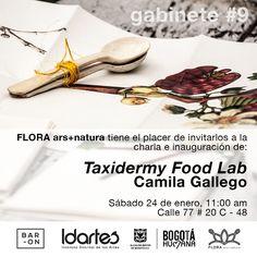 FLORA lo invita a la inauguración de 'Taxidermy food Lab' de Camila Gallego, novena entrega de la convocatoria Gabinete, 2014. La artista colombiana dará una charla sobre su trabajo el sábado 24 de enero, 11:00 a.m. Invita: IDARTES