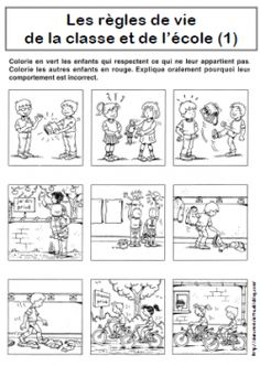 REGLES DE VIE Plus Teaching French, Beginning Of School, First Day Of School, Classroom Management Techniques, First Day Activities, French Worksheets, French Classroom, French Resources, Socialism
