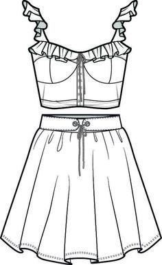 zeichnen – Keep up with the times. Dress Design Sketches, Fashion Design Sketchbook, Fashion Illustration Sketches, Fashion Design Drawings, Fashion Sketches, Fashion Drawing Dresses, Clothing Sketches, Fashion Templates, Fashion Art