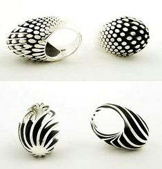 """Egg"" series Rings by Sarah Herriot. Sterling Silver"