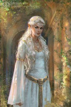 Fantasy And Fairy Tales - Galadriel by IcedWingsArt on DeviantArt Fantasy Girl, Foto Fantasy, Fantasy Magic, Fantasy Kunst, Fantasy Women, Medieval Fantasy, Elfa, Fantasy Artwork, Fantasy Inspiration