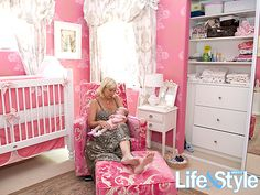 Finally found my inspiration! Thanks Tori Spelling :) we'll be using light baby pink, bubblegum, and raspberry colors in Grace's nursery. <3 thanks to @cindy bireley, we have a BEAUTIFUL quilt for her bedding in every shade of perfect pink :) let's start painting Hub! :)
