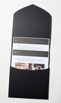 Custom cut and scored envelope. Ivy Hotel Sales Kit by CRU Agency, via Behance. Book Design, Layout Design, Print Design, Design Design, Design Ideas, Chair Design, Pattern Design, Presentation Folder, Business Presentation