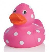 Polka Dot Rubber Duckie, Hot Pink