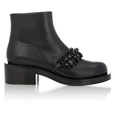 Givenchy Crystal-Embellished Ankle Boots (67.815 RUB) ❤ liked on Polyvore featuring shoes, boots, ankle booties, ankle boots, black, strappy ankle boots, black bootie, thick heel booties and chunky heel bootie