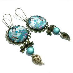 Boucles d'oreille cabochons - L'Asie - Blanc et Turquoise - 10850