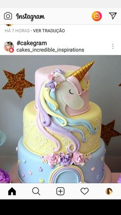 48 Ideas For Cake Unicorn Birthday Cup Birthday Cup, Unicorn Birthday Parties, Birthday Gifts, Pony Cake, Girl Cakes, Fancy Cakes, Cake Designs, Eat Cake, Cupcake Cakes