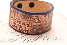 Leather Bracelet Etched Copper Bird Flowers Hand by QueSarahSera, $35.00