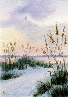 The coastal skies at dusk feature sunset skies, sand dunes and sea oats and water reflectiing the sunset in this beach painting. This giclée print is printed on Arches Hotpress watercolor paper with archival inks. It is presented in a clearbag backed with matboard.