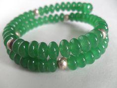 Gemstone Bracelet Aventurine and Silver Beaded by IyanaDesigns