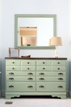 Mint green dresser with pewter hardware