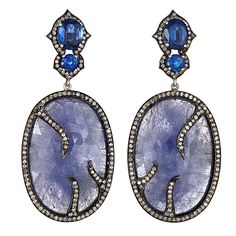 J/Hadley: Tanzanite earrings with kashmir sapphire post and pave diamond detail  (MY-18)