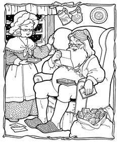 Kids Printable - Santa Coloring Page - Christmas - The Graphics Fairy