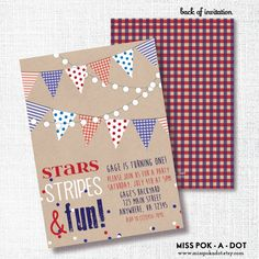 STARS STRIPES FUN red white and blue, 1st birthday, party invitation, memorial day, labor, 4th of july, rustic, patriotic, bbq, invite